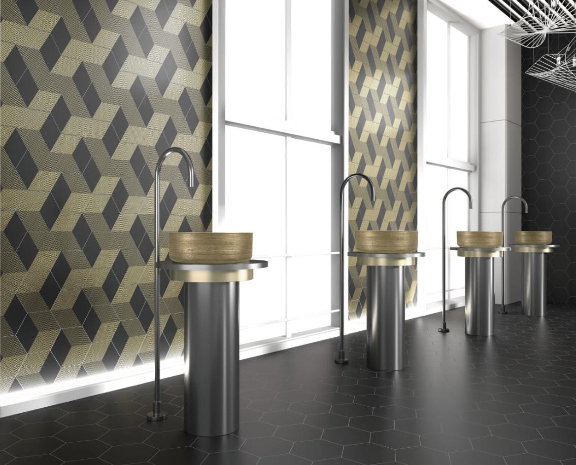 סדרת אריחי קיר ורצפה בצורת משושה